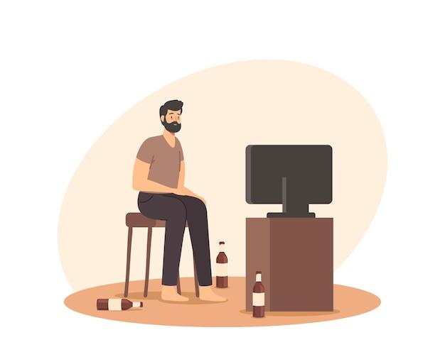 Pigrizia, degradazione, stile di vita malsano, concetto di cattiva abitudine. uomo pigro seduto su una sedia a casa con bottiglie di birra vuote