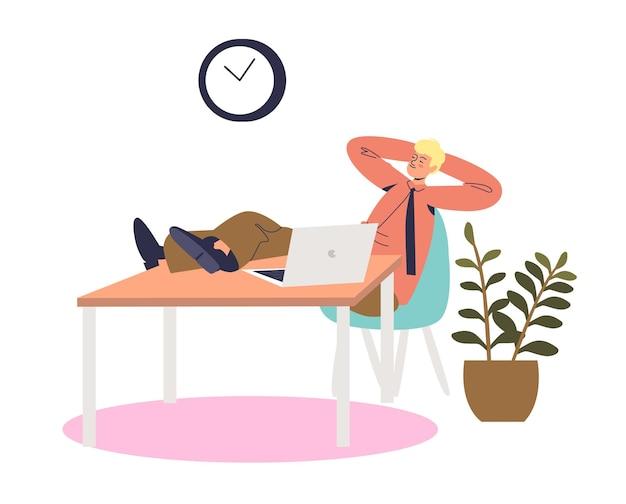 Uomo d'affari pigro del fumetto che sonnecchia sul posto di lavoro seduto rilassato alla scrivania in ufficio. procrastinare il lavoratore di ufficio maschio o il concetto di manager