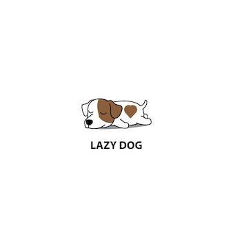 Cane pigro, carino jack russell terrier dormendo icona