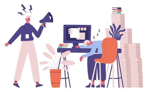 Impiegato pigro. manager non organizzato stanco dal lavoro d'ufficio di routine e dall'illustrazione del capo arrabbiato