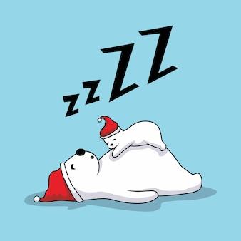 Orso polare pigro che dorme buon natale
