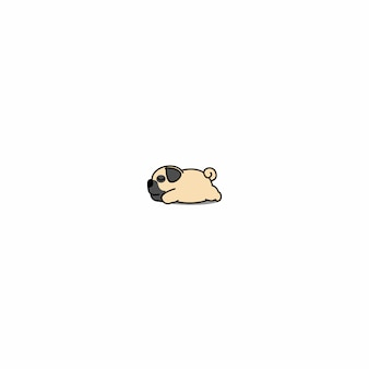 Icona di sonno cucciolo pigro pug Vettore Premium