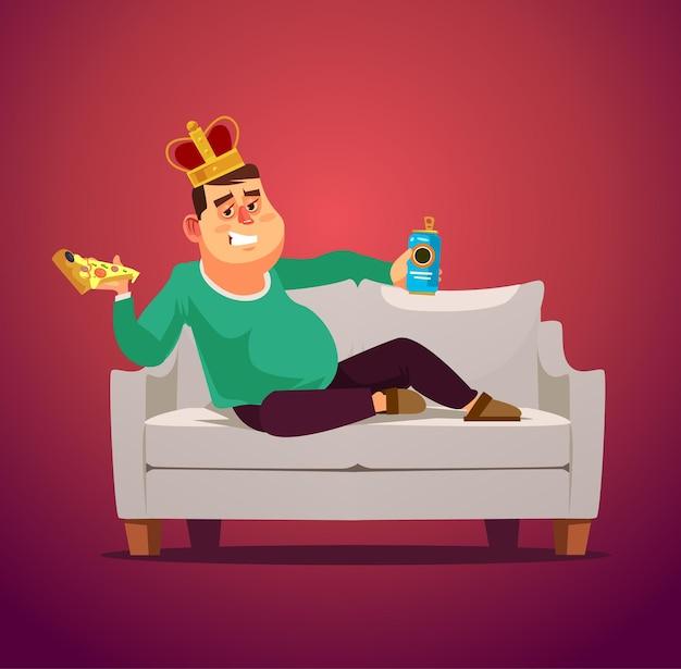 Pigro divano re uomo personaggio disoccupato posa mangiare pizza e bere birra
