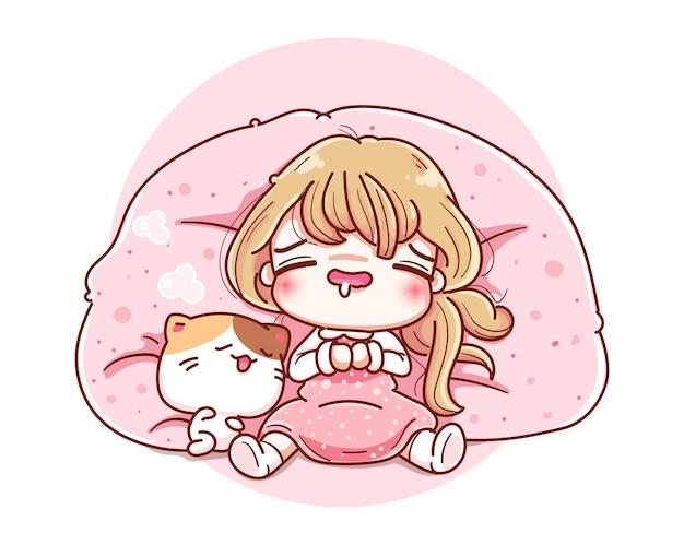 Donna pigra che dorme sul divano e disegno del personaggio dei cartoni animati.