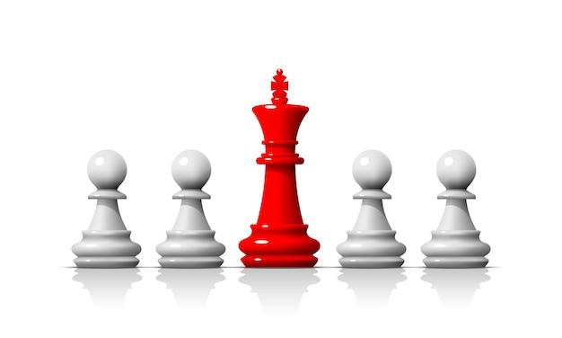 Leader nel gioco degli scacchi, business team sullo sfondo bianco. illustrazione vettoriale