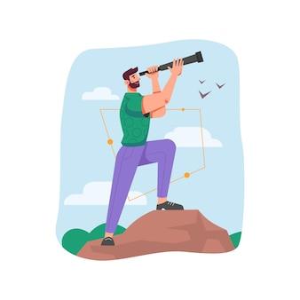 Leader che utilizza il cannocchiale per cercare opportunità future e uomo isolato di successo aziendale