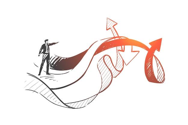 Leadership, analisi, illustrazione di schizzo di concetto di scelta aziendale