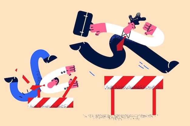 Leadership, successo aziendale, concetto di successo. il giovane uomo d'affari che corre e salta sopra lascia vincere mentre i rivali cadono a terra illustrazione vettoriale