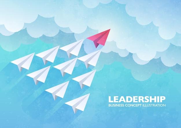 Illustrazione di concetto di leadership con un gruppo di aeroplani di carta bianca guidati dall'aereo di carta rosso che vola verso l'alto