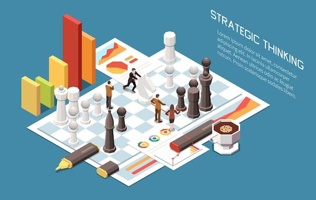Illustrazione isometrica del concetto di leadership con figure di scacchi e segni infografici per il miglioramento della crescita del business