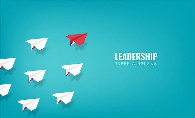 Concetto di design di leadership con il simbolo dell'aeroplano di carta.