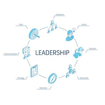 Concetto isometrico di leadership. icone collegate linea 3d. sistema di progettazione infografica a cerchio integrato. simboli di visione, obiettivo, orientamento e strategia