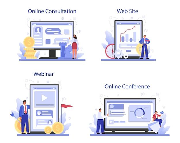 Servizio online di leadership o set di piattaforme