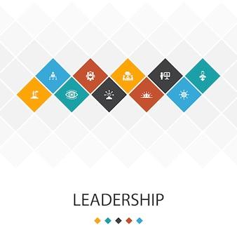 Leadership alla moda modello di interfaccia utente infografica concept.responsabilità, motivazione, comunicazione, icone di lavoro di squadra