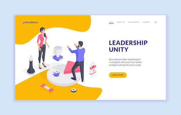 Modello di banner del sito web di unità di leadership