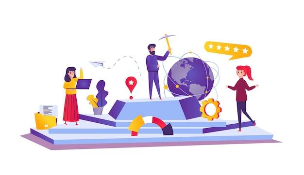 Leadership web concept in stile cartone animato