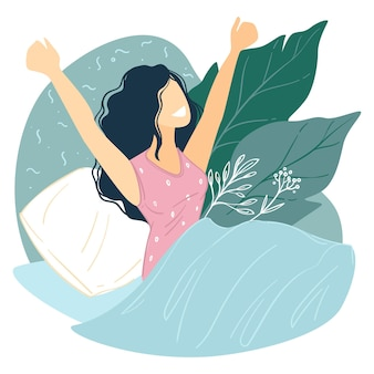 Condurre uno stile di vita sano e attivo, migliorando le buone abitudini di svegliarsi presto la mattina. personaggio femminile sorridente a letto, comodo risveglio della signora. vettore ottimista e positivo in flat