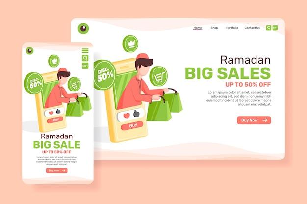 Grande vendita di pagina principale per il ramadan con illustrazione di persone musulmane