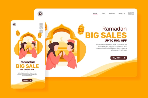 Pagina principale grande vendita per il ramadan con illustrazione di persone musulmane
