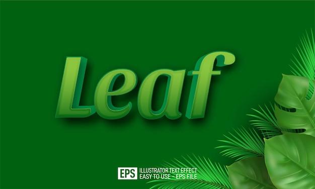 Foglia modello di effetto stile modificabile testo 3d leaf