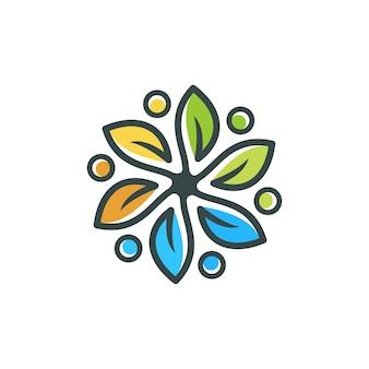 Foglia astratta fiore logo design natura vettore icona logotype