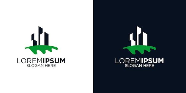 Foglia e modello di progettazione del logo dell'edificio