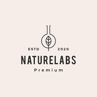 Illustrazione d'annata dell'icona di logo dei pantaloni a vita bassa dei laboratori del laboratorio della foglia