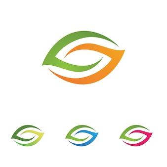 Foglia foglie logo verde immagine vettoriale