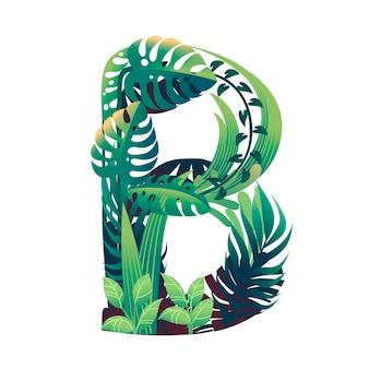 Foglia lettera b con diversi tipi di foglie verdi e fogliame piatto illustrazione vettoriale isolato su sfondo bianco.