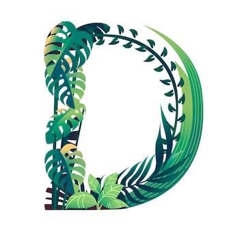 Foglia lettera d con diversi tipi di foglie verdi e fogliame piatto illustrazione vettoriale isolato su sfondo bianco.