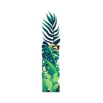 Foglia lettera i con diversi tipi di foglie verdi e fogliame piatto illustrazione vettoriale isolato su sfondo bianco.