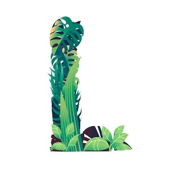 Lettera di foglia l con diversi tipi di foglie verdi e fogliame piatto illustrazione vettoriale isolato su sfondo bianco.