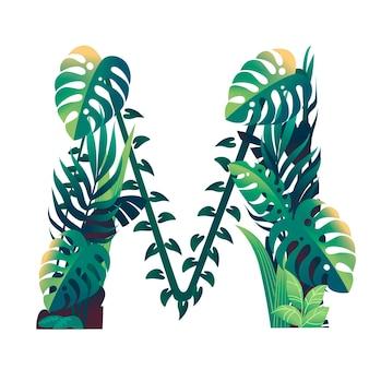 Lettera di foglia m con diversi tipi di foglie verdi e fogliame piatto illustrazione vettoriale isolato su sfondo bianco.