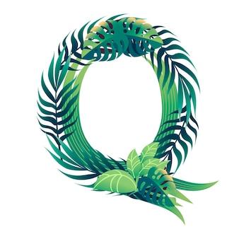 Lettera di foglia q con diversi tipi di foglie verdi e fogliame piatto illustrazione vettoriale isolato su sfondo bianco.