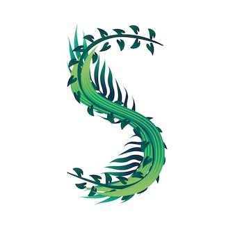 Lettera di foglia s con diversi tipi di foglie verdi e fogliame piatto illustrazione vettoriale isolato su sfondo bianco.