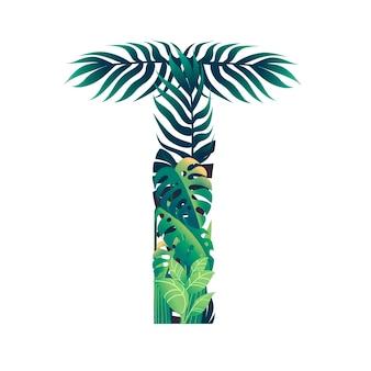 Foglia lettera t con diversi tipi di foglie verdi e fogliame piatto illustrazione vettoriale isolato su sfondo bianco.