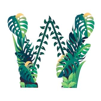 Lettera di foglia w con diversi tipi di foglie verdi e fogliame piatto illustrazione vettoriale isolato su sfondo bianco.