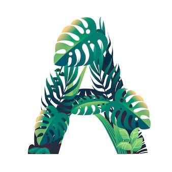 Foglia lettera a con diversi tipi di foglie verdi e fogliame piatto illustrazione vettoriale isolato su sfondo bianco.