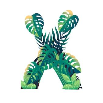 Foglia lettera x con diversi tipi di foglie verdi e fogliame piatto illustrazione vettoriale isolato su sfondo bianco.