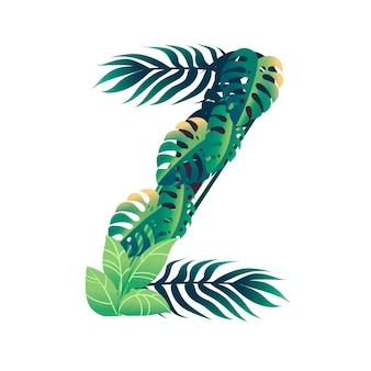 Foglia lettera z con diversi tipi di foglie verdi e fogliame piatto illustrazione vettoriale isolato su sfondo bianco.