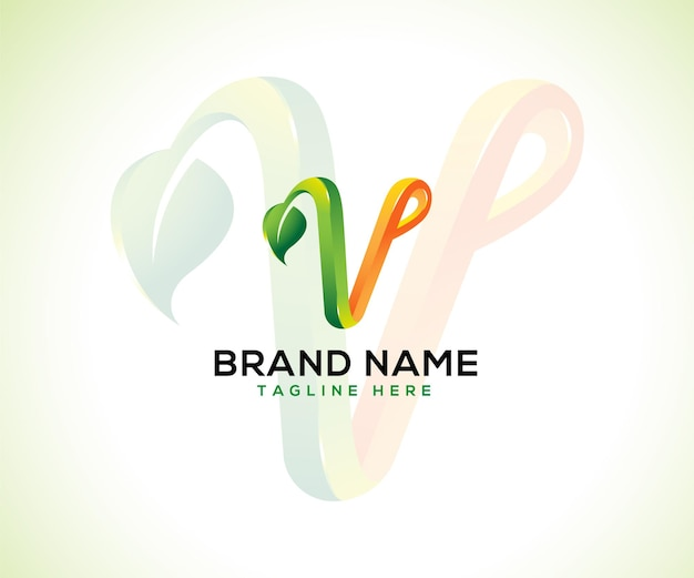 Foglia logo 3d lettera v