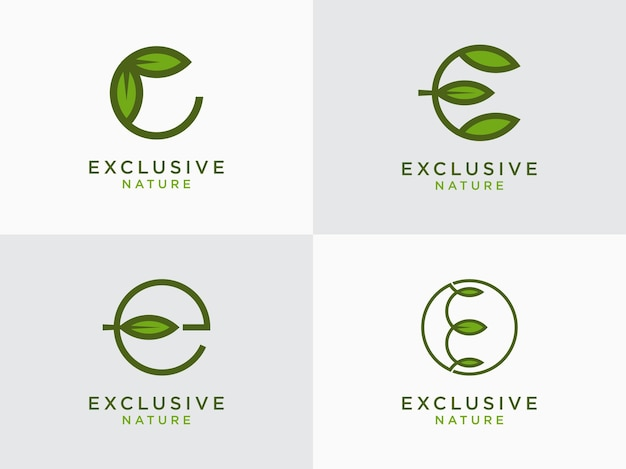 Foglia logo iniziale lettera design set e