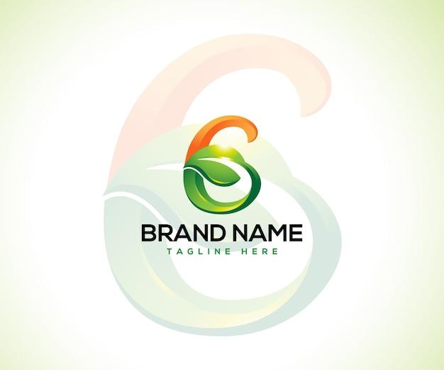 Logo foglia e lettera iniziale g logo concept