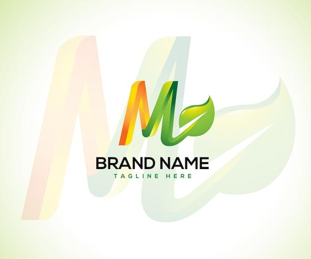 Logo foglia e concetto del logo lettera iniziale m.