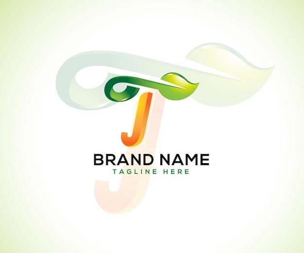 Logo foglia e lettera iniziale t 3d logo concept