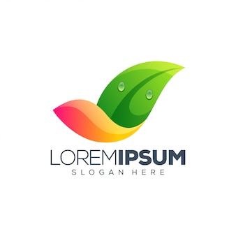 Illustrazione vettoriale di foglia logo