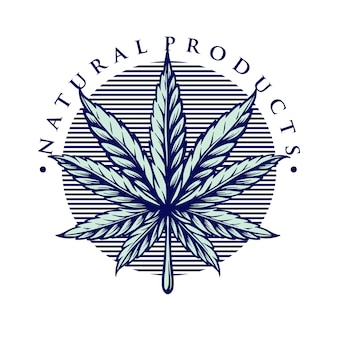 Foglia marijuana vintage weed logo style