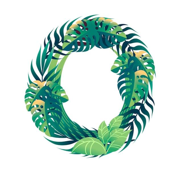 Foglia numero 0 con diversi tipi di foglie verdi e fogliame in stile cartone animato piatto vettoriale illustrazione isolato su sfondo bianco.