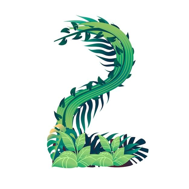 Foglia numero 2 con diversi tipi di foglie verdi e fogliame in stile cartone animato piatto vettoriale illustrazione isolato su sfondo bianco.
