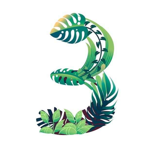 Foglia numero 3 con diversi tipi di foglie verdi e fogliame in stile cartone animato piatto vettoriale illustrazione isolato su sfondo bianco.